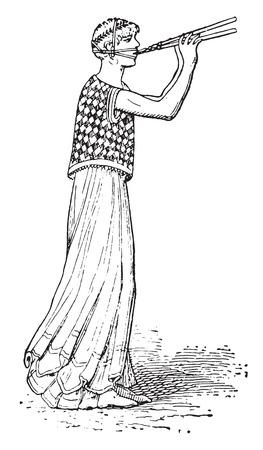 aerophone: Flute player, vintage engraved illustration.