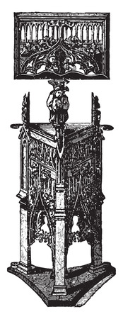 century: Carved wooden pulpit (XV century), vintage engraved illustration. Industrial encyclopedia E.-O. Lami - 1875.