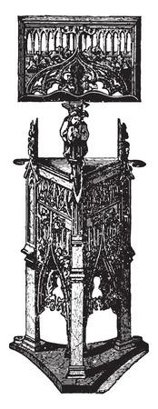 Carved wooden pulpit (XV century), vintage engraved illustration. Industrial encyclopedia E.-O. Lami - 1875.