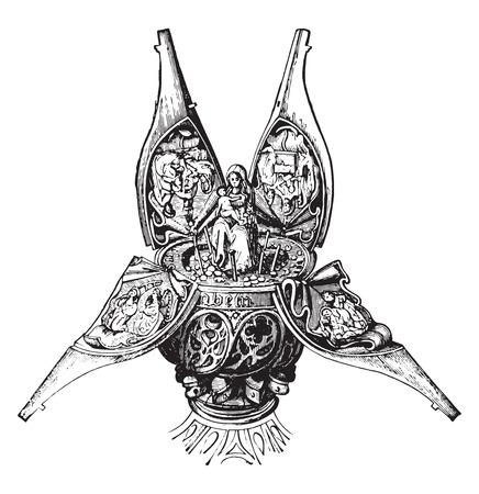 Reliquiar Fächer, Jahrgang gravierte Darstellung. Industrielle Enzyklopädie E.-O. Lami - 1875. Standard-Bild - 42028145