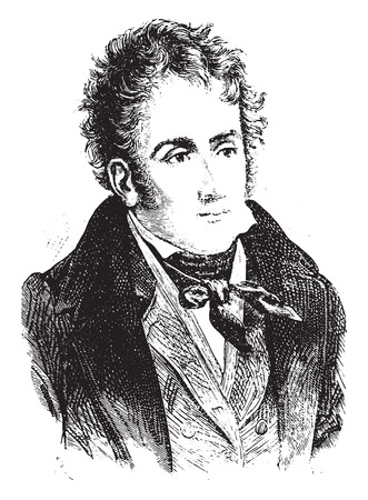 famous people: Chateaubriand, vintage engraved illustration. History of France – 1885.