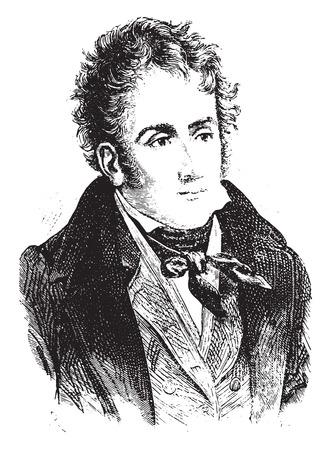 historian: Chateaubriand, vintage engraved illustration. History of France – 1885. Illustration