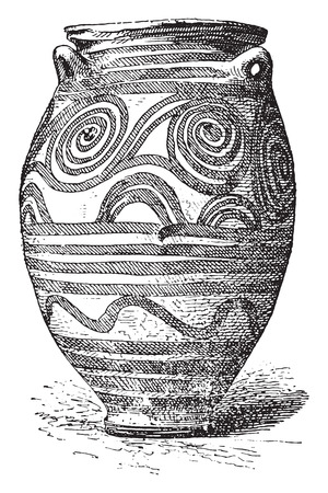 greek pot: Vaso di Santorini, vintage illustrazione inciso.