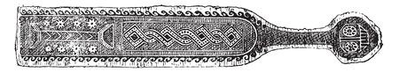 egyptian: Egyptian embroidery, vintage engraved illustration.