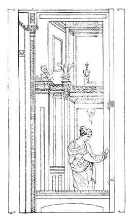 romanesque: Architecture Painting, vintage engraved illustration.