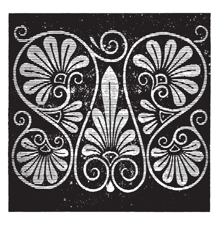 black history: Greek palmette, vintage engraved illustration.