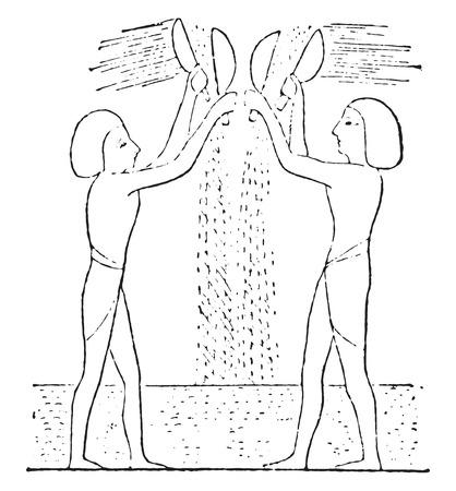 winnower: Egyptian winnowers, vintage engraved illustration.