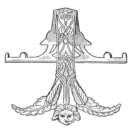 carvings: Bronze handle, vintage engraved illustration.