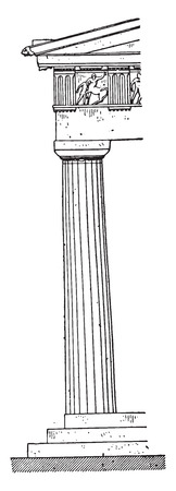 parthenon: Parthenon Corner column, vintage engraved illustration.