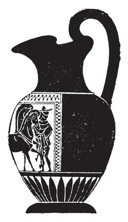 earthenware: Black vase decorated on one side only, vintage engraved illustration.