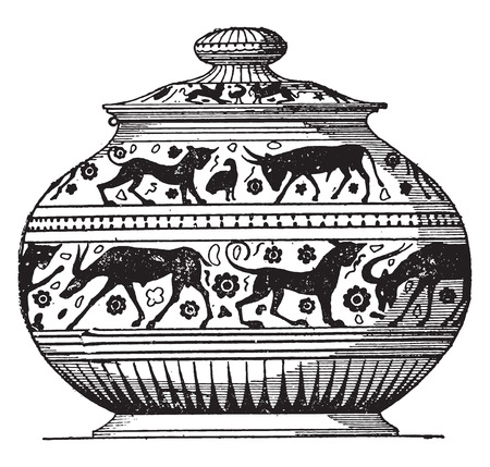 earthenware: Painted vase oriental style, vintage engraved illustration.
