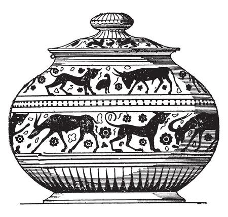 earthenware: Pintado estilo oriental florero, ilustraci�n de la vendimia grabado.