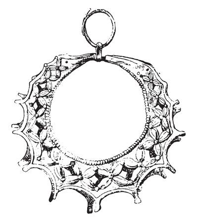 Ornate gold, vintage engraved illustration.