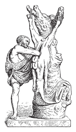 antiquity: A butcher in antiquity, vintage engraved illustration.