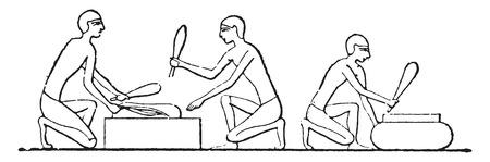 Threshing flax, vintage engraved illustration. Illustration