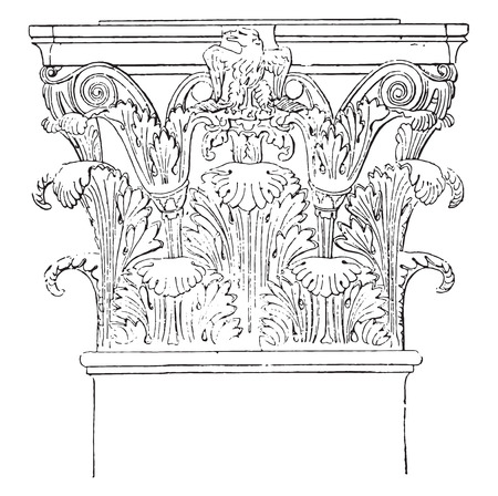 corinthian: Corinthian portico of Octavia, vintage engraved illustration.