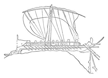 Greek ship, vintage engraved illustration.