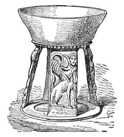 bowls: Etruscan pottery, vintage engraved illustration. Illustration