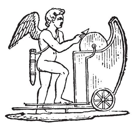 sharpening: Wheel board, vintage engraved illustration. Illustration