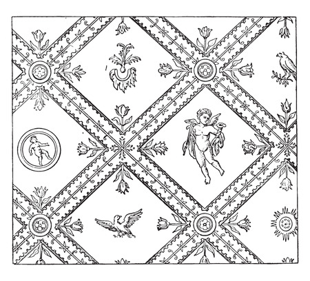 vintage drawing: Wall decoration after an ancient painting, vintage engraved illustration.