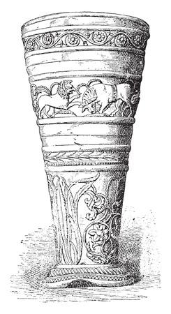 goblet: Silver Goblet treasure of Hildesheim, vintage engraved illustration. Illustration