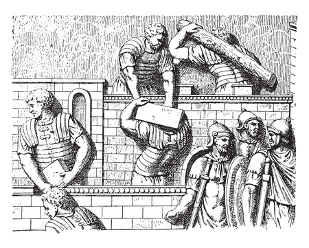 bas: Carriers of burdens, vintage engraved illustration.