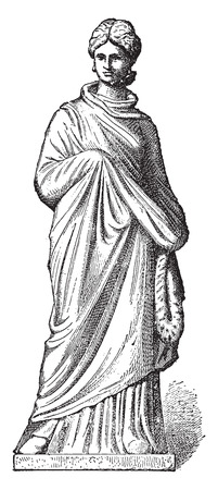 Terracotta figurine, vintage engraved illustration. Ilustração