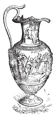 prata: Silver vase, vintage engraved illustration. Ilustra��o