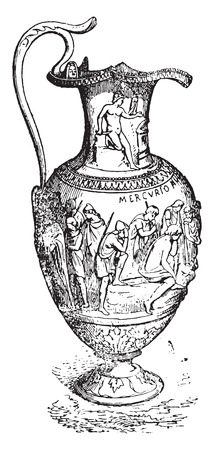 vessel: Silver vase, vintage engraved illustration. Illustration