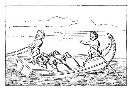 Pygmies driving a boat, vintage engraved illustration.