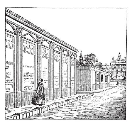 Showing ads in Pompeii, vintage engraved illustration.