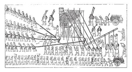 Transport of a colossus, vintage engraved illustration. Illustration