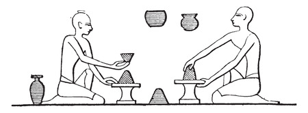 pottery: Manufacture of pottery, vintage engraved illustration.