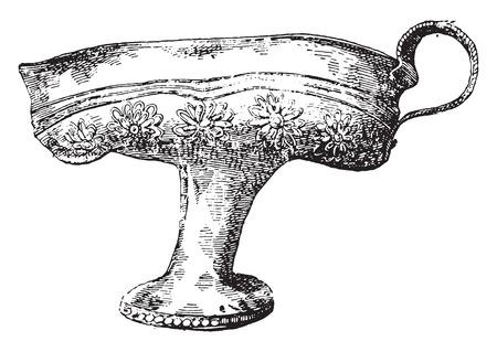 antigua grecia: Taza de oro de la mano de obra griega, ilustración de la vendimia grabado.