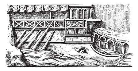 prior: Prior to a Roman ship, vintage engraved illustration.