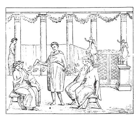 roman column: Roman merchants, vintage engraved illustration. Illustration