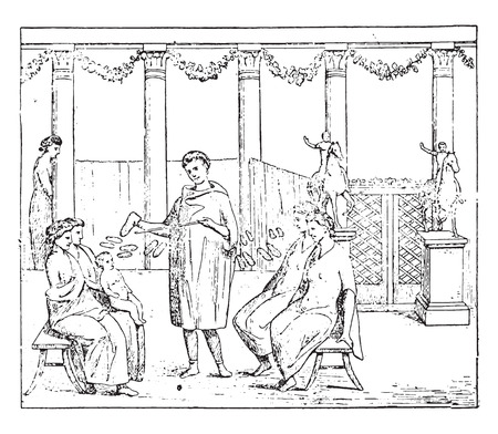 romans: Roman merchants, vintage engraved illustration. Illustration