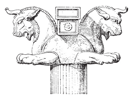 statuette: Persian Capital, vintage engraved illustration.