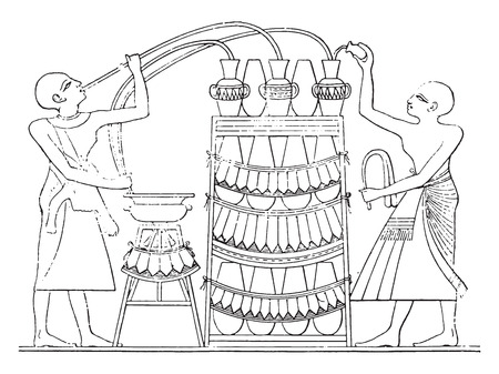 siphon: The Egyptian siphon, vintage engraved illustration.