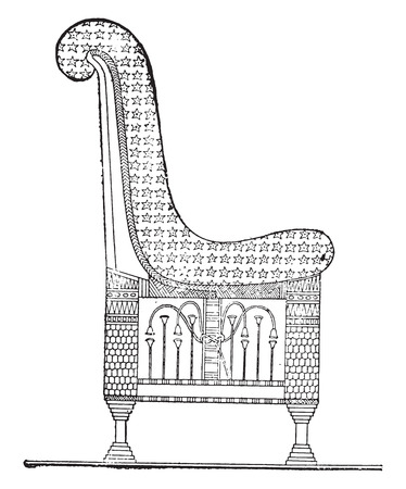 antique chair: Egyptian chair, vintage engraved illustration. Private life of Ancient – Antique family – 1881. Illustration