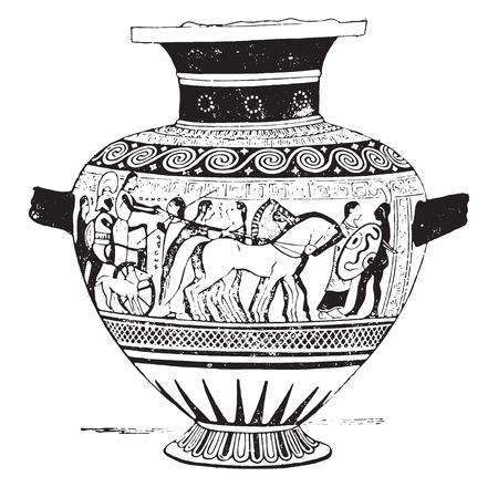 earthenware: The departure of Priam, vintage engraved illustration.