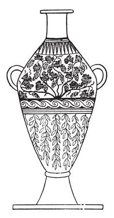 Handled vase decorated with leaves, vintage engraved illustration.