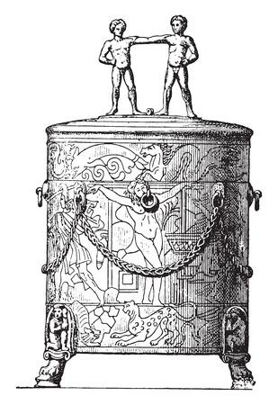 Cista etrusca, vintage illustrazione inciso. La vita privata di Antica-Antique family-1881.