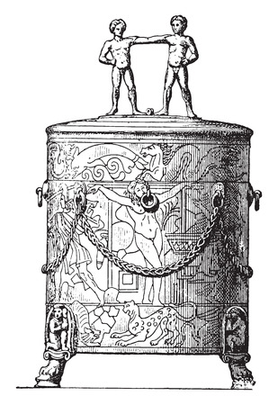 etruscan: Etruscan cist, vintage engraved illustration. Private life of Ancient-Antique family-1881.