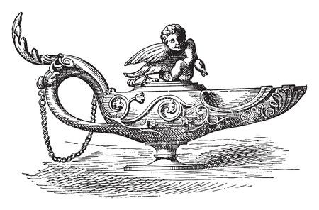 naples: Bronze lamp of the Naples Museum, vintage engraved illustration. Illustration