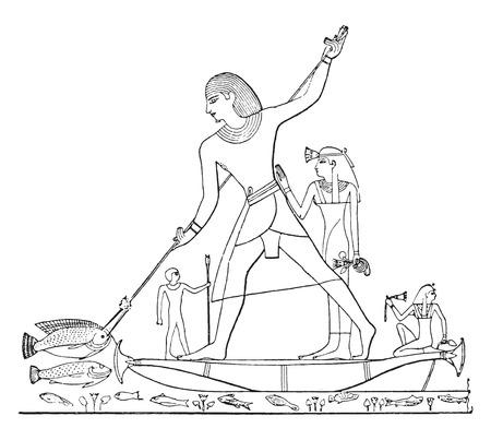 fisheries: Fishing bident, vintage engraved illustration.