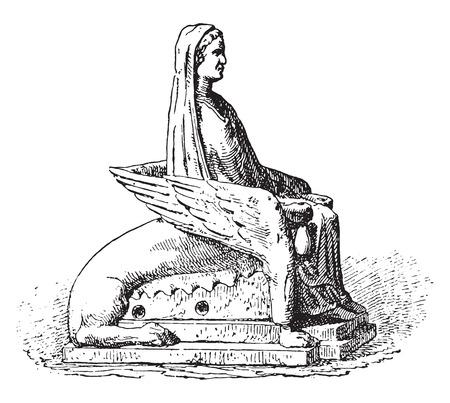 statuette: Statuette, vintage engraved illustration.