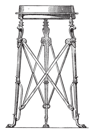 metal legs: Tripod snakes, vintage engraved illustration.