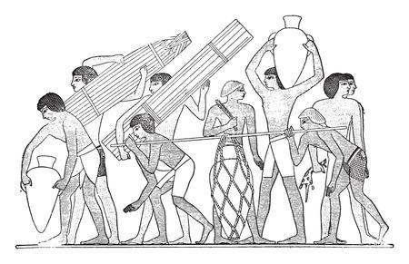 sirvientes: Siervos llevan utensilios, ilustraci�n de la vendimia grabado.