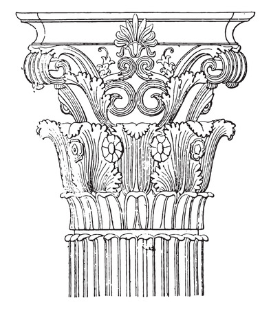 Corinthian capital of the monument of Lysicrates, vintage engraved illustration. Çizim